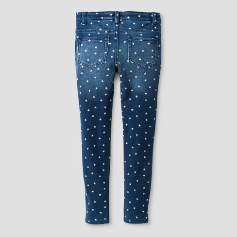 Girls' Star Print Leggings Pants - Cat & Jack™ Medium Blue - image 1 of 2