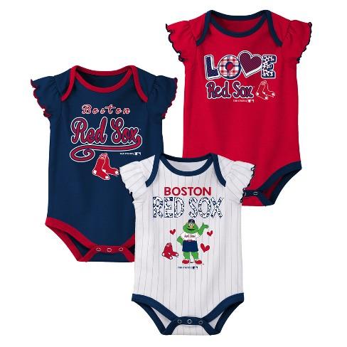 Boston Red Sox Baby Girls  3pk Flutter Short Sleeve Bodysuits - 18 M ... d6aaf41b6