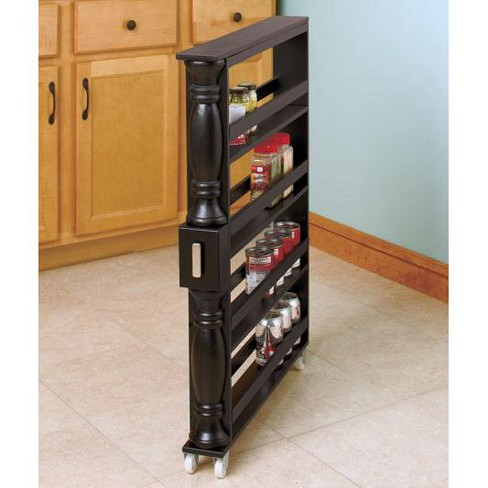 Lakeside Wooden Can Organizer Spice Rack Slim Rolling Kitchen Cart Target