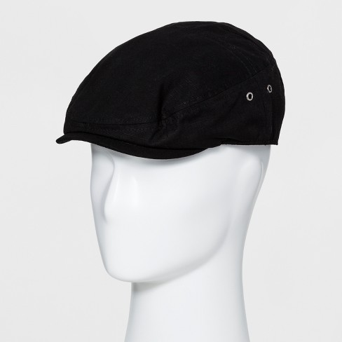 Men's Ripstop Falt Cap With Metal Eyelets Fitted Driving Cap - Goodfellow & Co™ Black - image 1 of 2