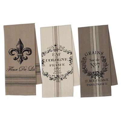 French Grain Sack Printed Dishtowel (Set Of 3)- Design Imports