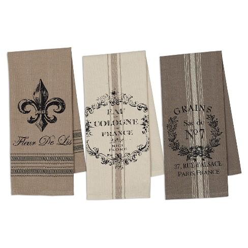 French Grain Sack Printed Dishtowel (Set Of 3) - Design Imports - image 1 of 4