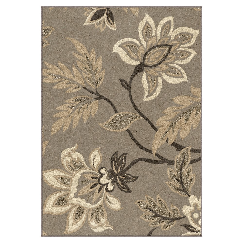 Taupe Botanical Woven Accent Rug - (3'11