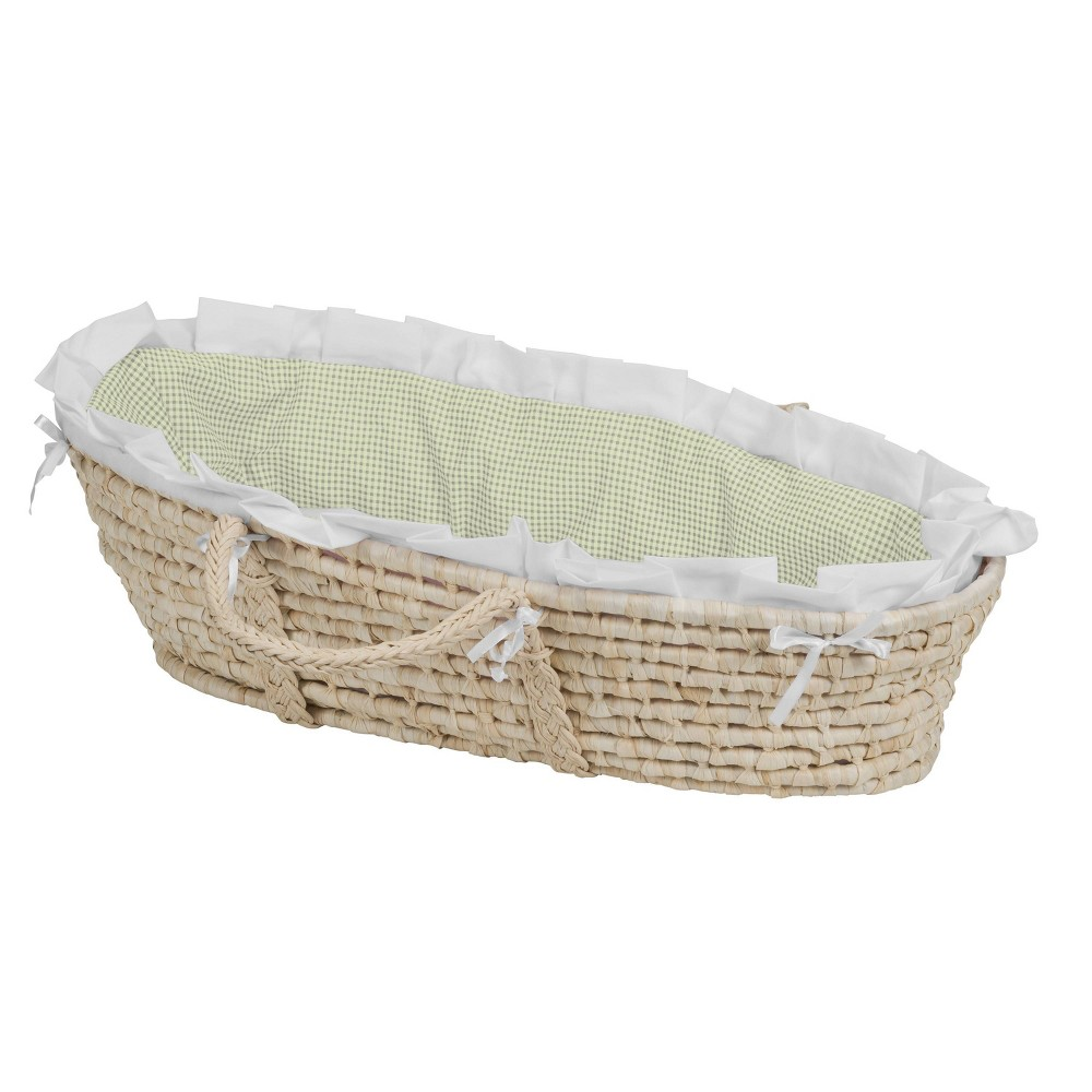Image of Badger Basket Natural Moses Basket Bedding - Sage Gingham, Green