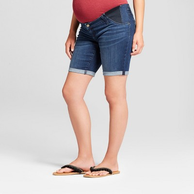 Maternity Inset Panel Bermuda Jean Shorts - Isabel Maternity by Ingrid & Isabel™ Dark Wash 2