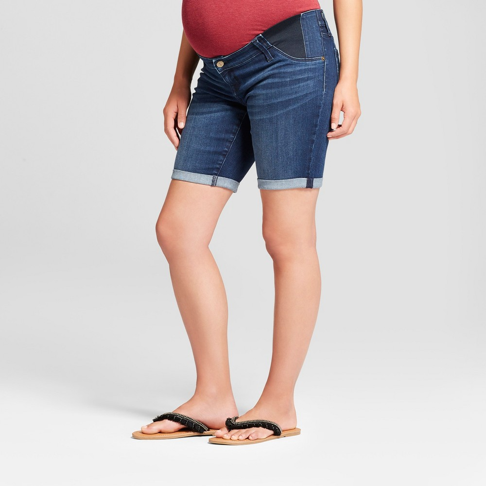 Maternity Inset Panel Bermuda Jean Shorts - Isabel Maternity by Ingrid & Isabel Dark Wash 14 was $24.99 now $20.0 (20.0% off)