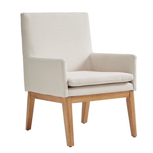Inspire Q Set of 2 Mila Mid Century Wood Base Accent Chairs Linen Oatmeal Brown - image 1 of 5