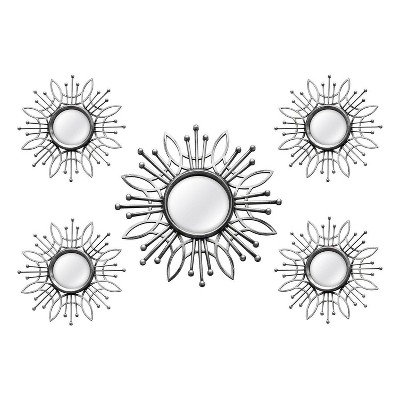 (5 Pc) Burst Wall Mirror Silver - Stratton Home Décor