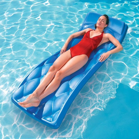 Swim Way 68 Aquaria Avena Quilted 1 Person Swimming Pool Water Lounger Blue Target