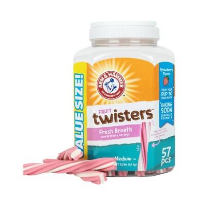 Arm & Hammer Fruit Twisters Strawberry Flavor Dental Dog Treats - 57ct