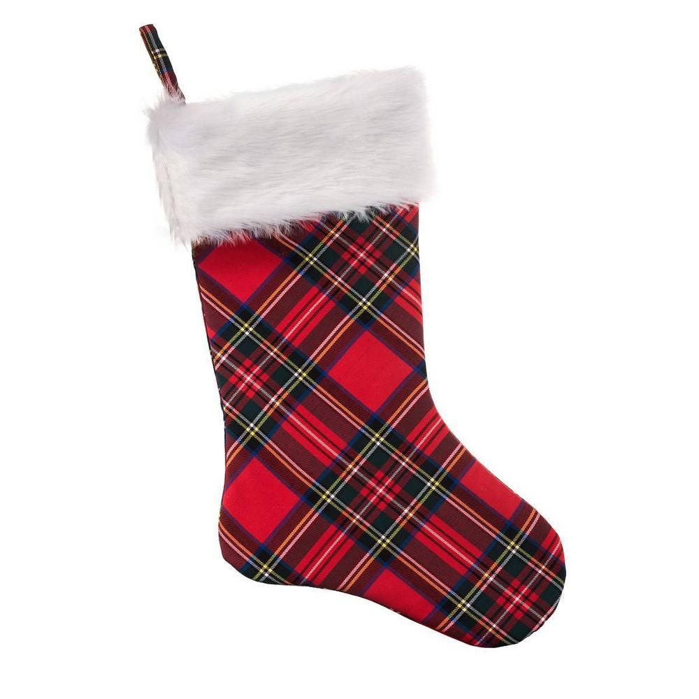 20in Hangright Plaid Christmas Stocking Haute D 233 Cor