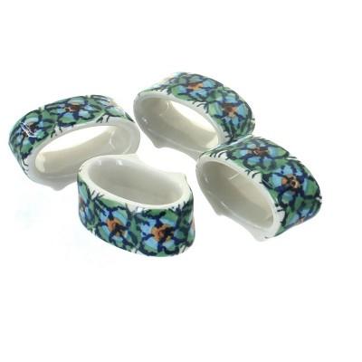 Blue Rose Polish Pottery Mardi Gras Napkin Ring Set