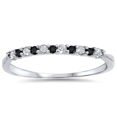 Pompeii3 1/4ct Black & White Diamond Wedding Anniversary Ring