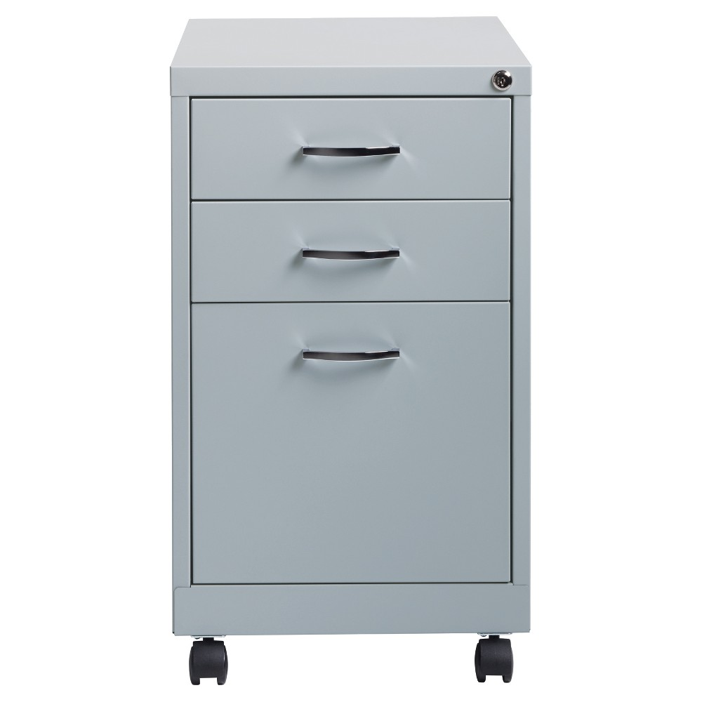 Hirsh Industries Office Dimensions File Cabinet on Wheels, 3 Drawer - Platinum, Black