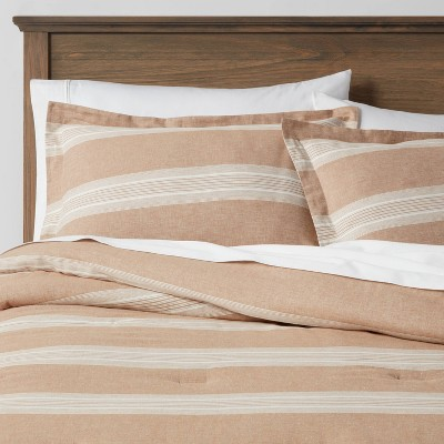 Chambray Yarn Dye Stripe Comforter & Sham Set Brown  - Threshold™