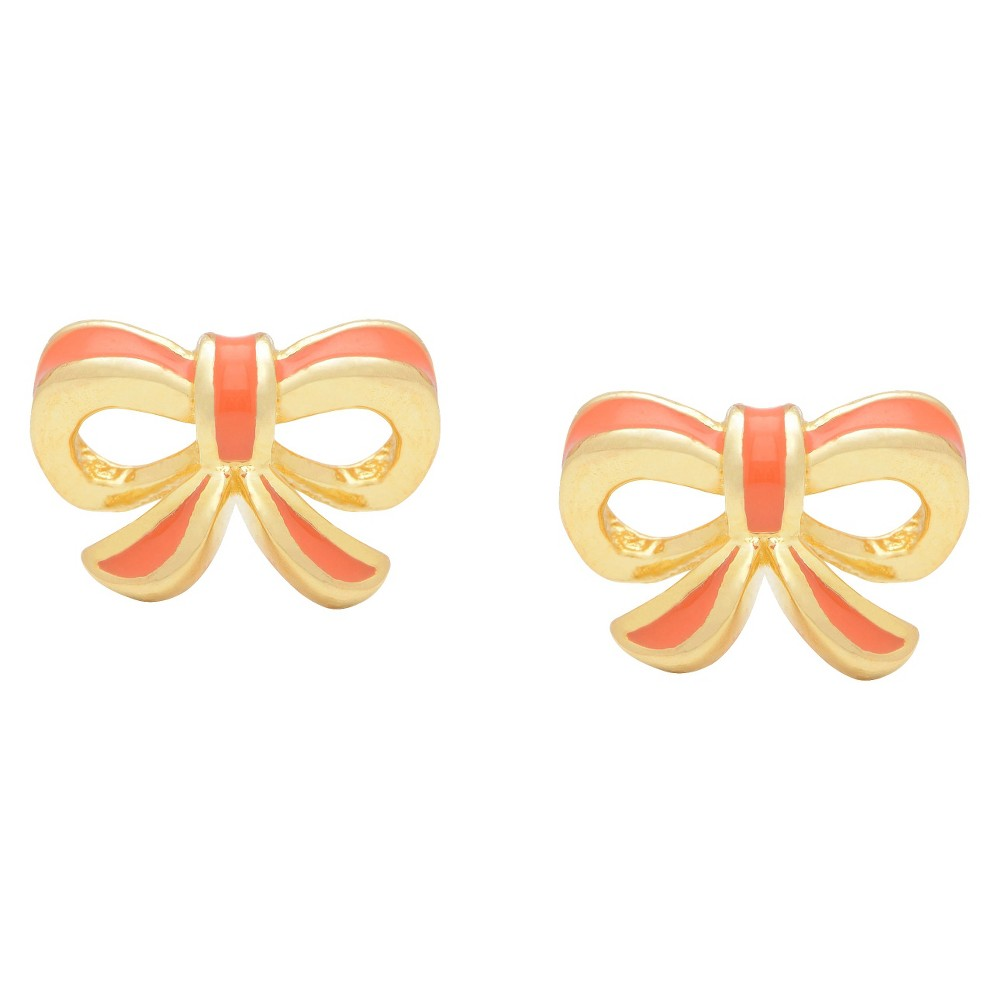 Image of ELLEN 18k Gold Overlay Enamel Children's Bow Stud Earrings - Coral, Women's, Size: Small, Pink/Gold