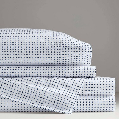 Queen Printed Pattern Percale Cotton Sheet Set Blue Dot - Now House by Jonathan Adler