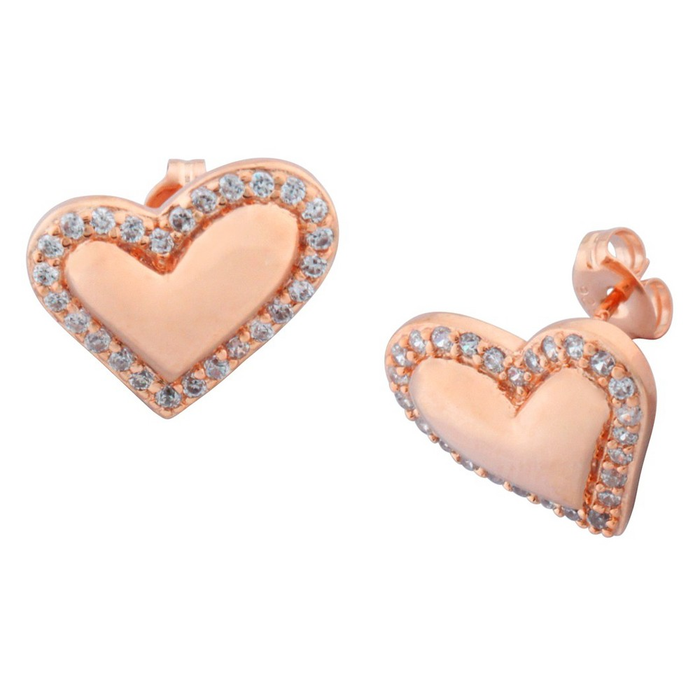 Image of 14k Rose Gold Plated Sterling Silver CZ Heart Stud Earrings, Women's, Pink
