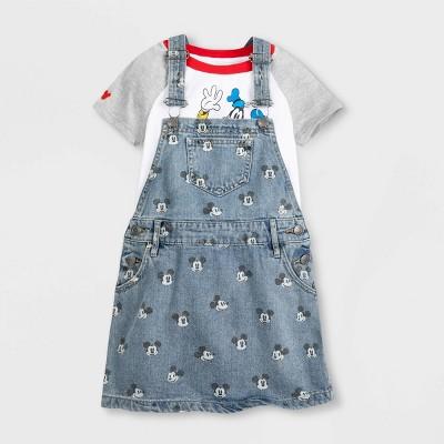 Girls' Disney Mickey Mouse 2pc Denim Dress Set - White/Gray/Blue - Disney Store