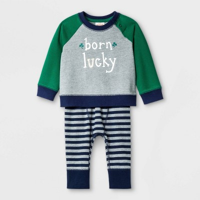 Baby St. Patrick's Day Top & Bottom Set - Cat & Jack™ Gray Newborn