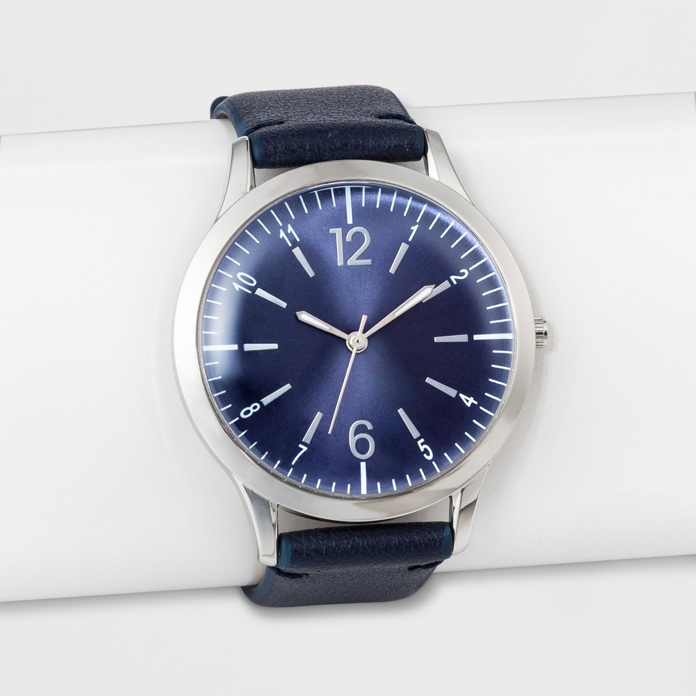 Women's Dome Dial Bias Cut Strap Watch - A New Day Navy