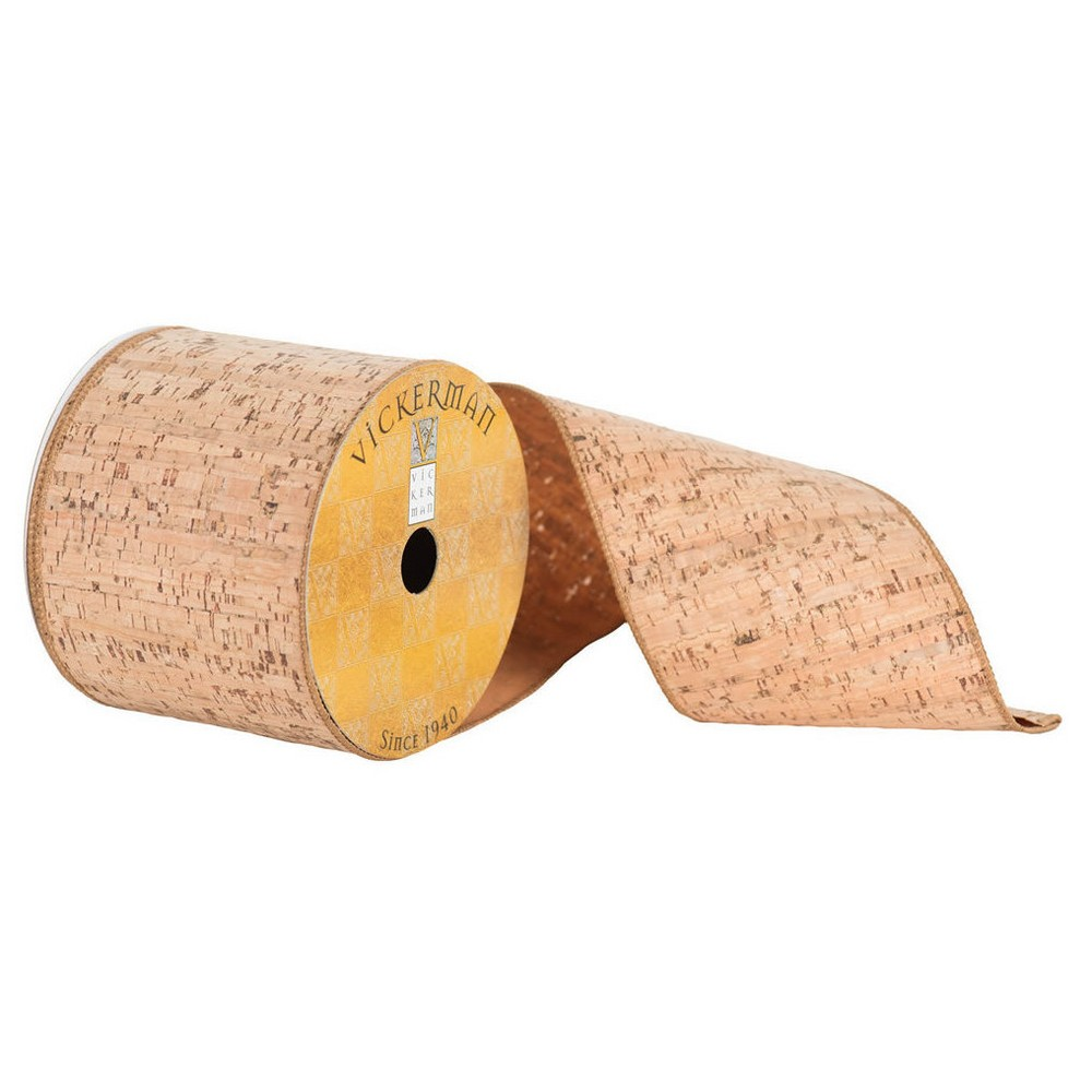 2.5 Natural Cork Stripe Ribbon 30ft, Brown Cork
