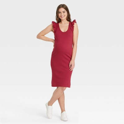 The Nines by HATCH™ Ruffle Short Sleeve Ribbed Maternity Dress