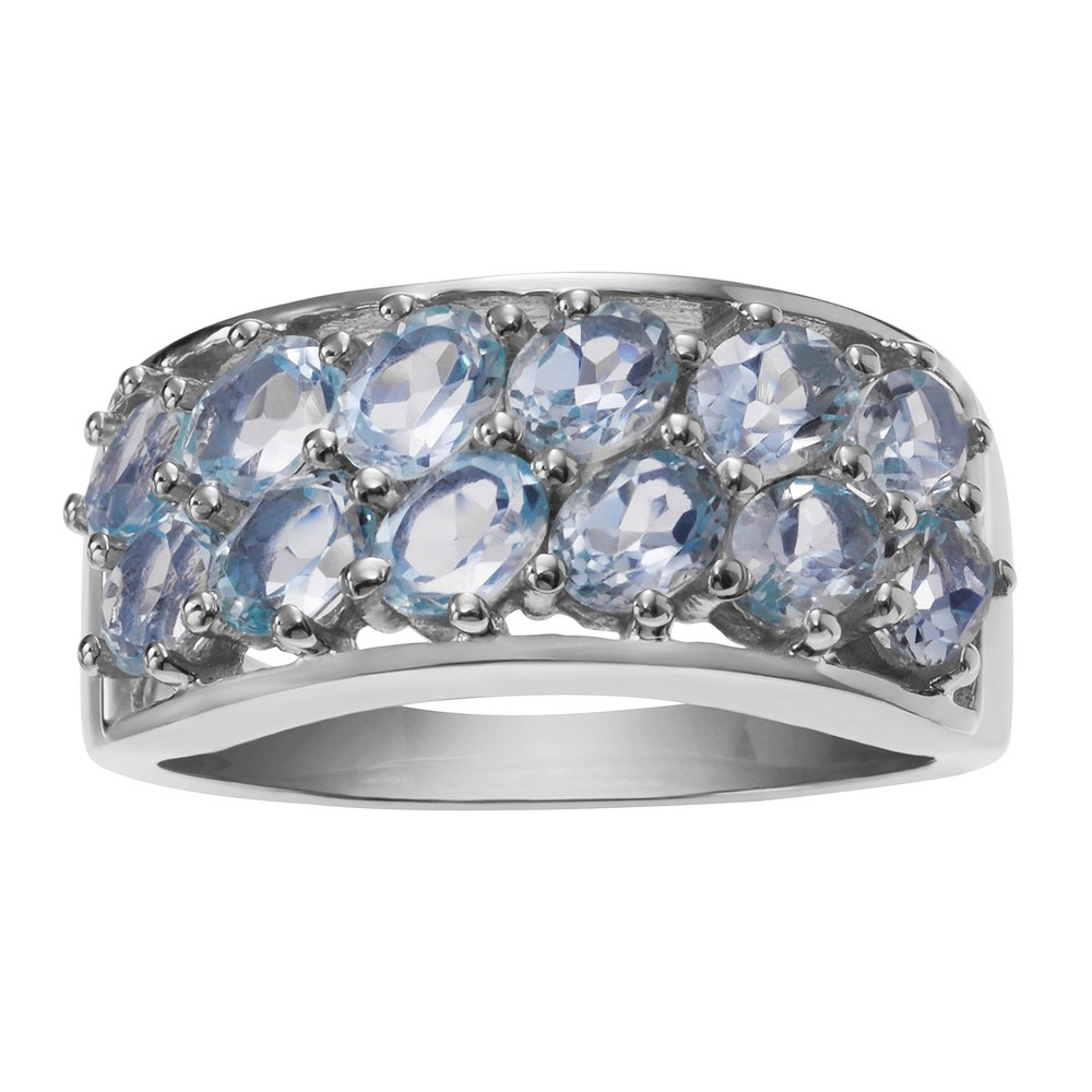 1 3/4 CT. T.W. Oval-Cut Topaz Band Prong Set Ring in Sterling Silver - Blue (8), Girl's