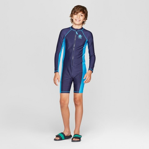 Boys  Full Body Long Sleeve Rash Guard With Compression Shorts - Cat    Jack™ Blue   Target 359e0b021ab