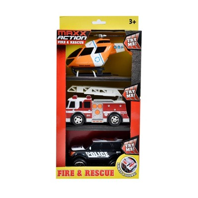 Maxx Action Mini Rescue Lights & Sounds Vehicles – Firetruck, Police Car and Helicopter - 3 pk