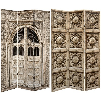 """6"""" Double Sided Stone Doorway Canvas Room Divider Gray - Oriental Furniture"""