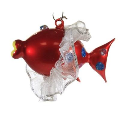 "Italian Ornaments 2.75"" Clown Fish With Ribbon Tutu Christmas Ornament Ocean  -  Tree Ornaments"