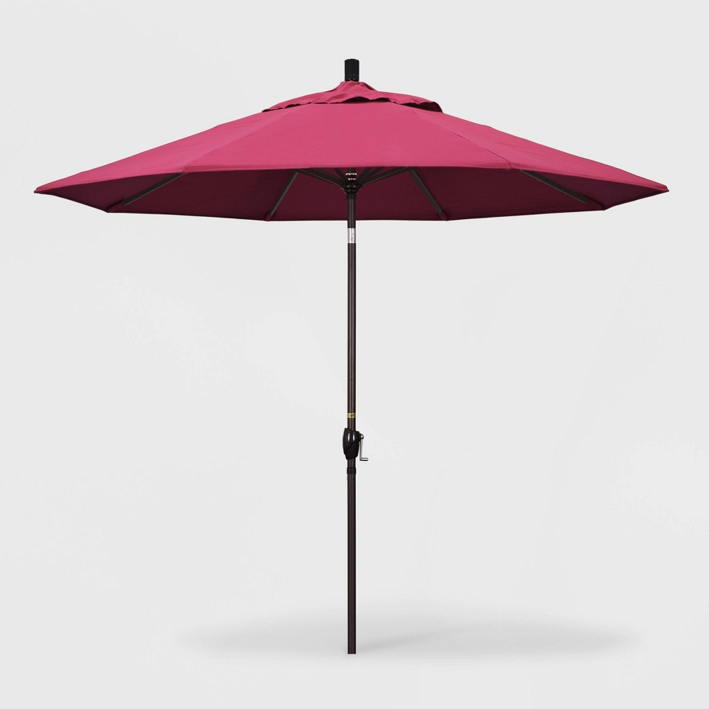 9' Pacific Trail Patio Umbrella Push Button Tilt Crank Lift - Sunbrella Hot Pink - California Umbrella