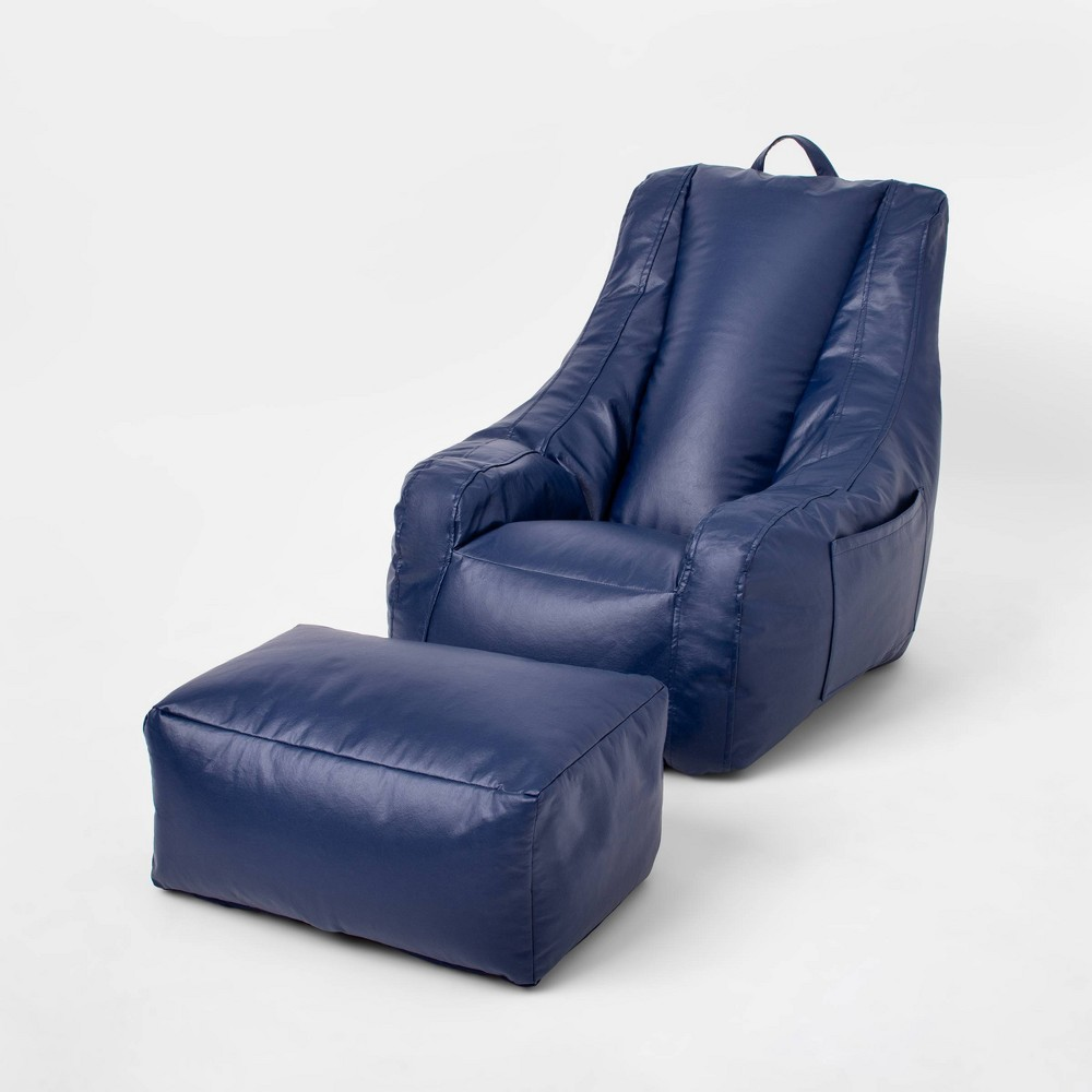 Image of Sensory-Friendly Water-Resistant Supportive Chair with Pockets & Ottoman Navy - Pillowfort
