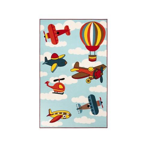 Non Slip Airplane Modern Kids Indoor Area Rug Blue Nile Mills Target