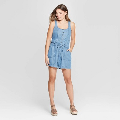ea78e23e7c Women s Sleeveless Square Neck Soft Twill Romper - Universal Thread™ Blue