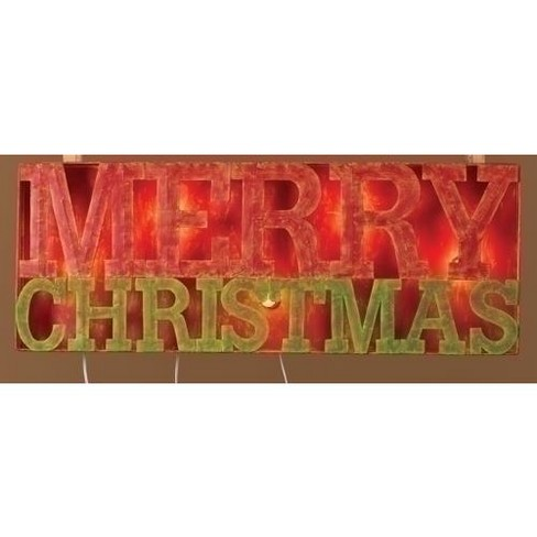 """Roman 33"""" Lighted Distressed """"Merry Christmas"""" Outdoor Decoration Sign - image 1 of 1"""