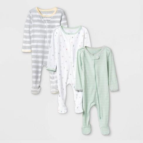 Baby 3pk Zip-Up Sleep N' Play - Cloud Island™ Mint/White/Gray - image 1 of 1