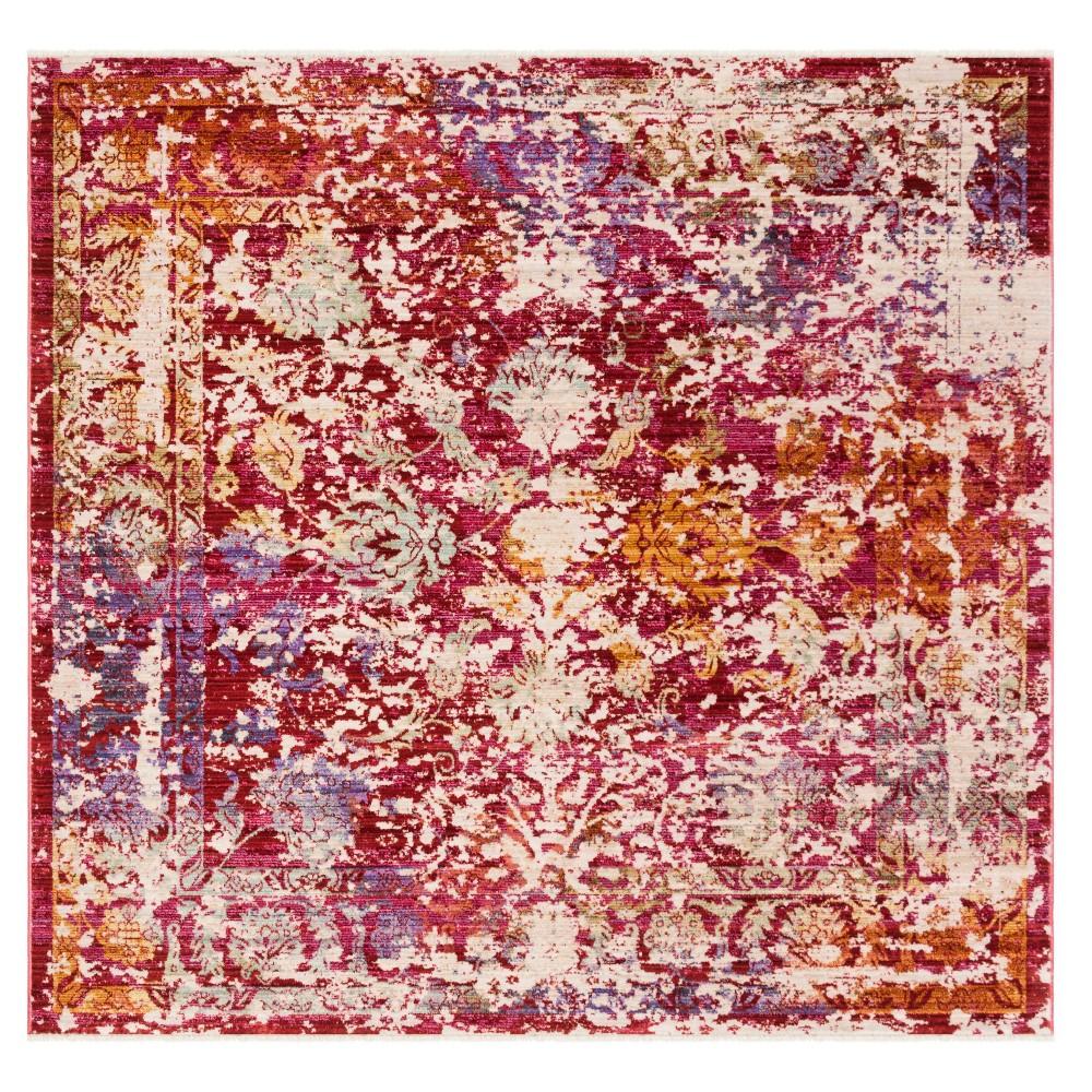 Fuchsia/Ivory (Pink/Ivory) Medallion Loomed Square Area Rug 6'X6' - Safavieh