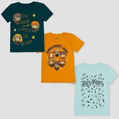 Toddler Boys' 3pk Harry Potter Short Sleeve T-Shirts - Green/Yellow/Blue 4T