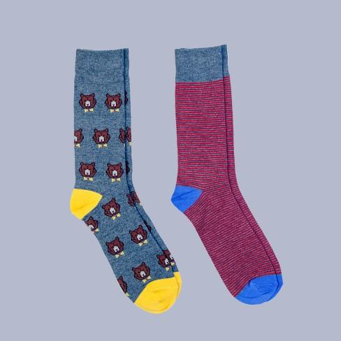 Men's All Over Bears Dress Socks 2pk - Goodfellow & Co™ Charcoal Heather 6-12 - image 1 of 2
