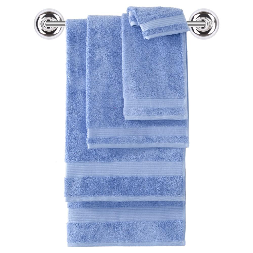 Image of 6pc Amadeus Turkish Bath Towel Set Breezy Point Blue - Makroteks