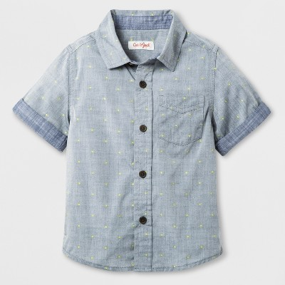 Toddler Boys' Short Sleeve Button-Down Chambray Shirt - Cat & Jack™ Yellow 12M