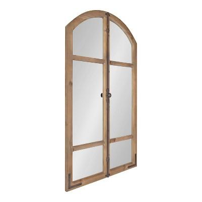 "26"" x 48"" Birchmoore Rustic Window Mirror Brown - Kate & Laurel All Things Decor"
