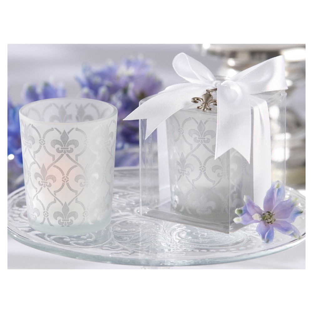 12ct Fleur-De-Lis Frosted Glass Tea Light Holder - Kate Aspen, Clear Add subtle glamour to your wedding day or special occasions with these Fleur-De-Lis Frosted Glass Tealight Holders from Kate Aspen. Complete with an elegant, frosted fleur-de-lis design, this wedding tealight holder set has each candleholder wrapped in a clear plastic gift box with a white-satin ribbon tied in a bow that has a silver fleur-de-lis charm for a stylish look. Your guests are sure to love receiving these candle wedding favors after they enjoy your very special day.