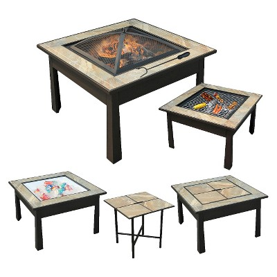 leisurelife™ 30  5 in 1 Square Coffee Table, Side Table, Fire Pit, Grill and Cooler with Slate look