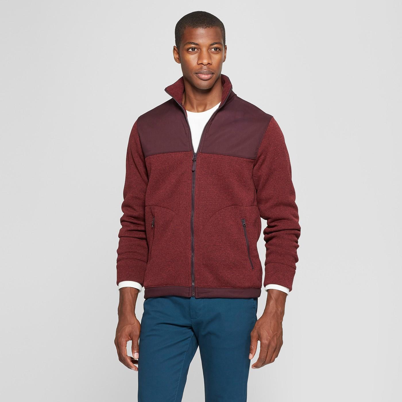 Men's Standard Fit Long Sleeve Sweater Fleece Zip-Up - Goodfellow & Co™ - image 1 of 3