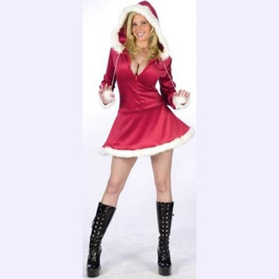 Fun World Red and White Plush Velour Santa Claus Women Christmas Costume Suit - Standard Size