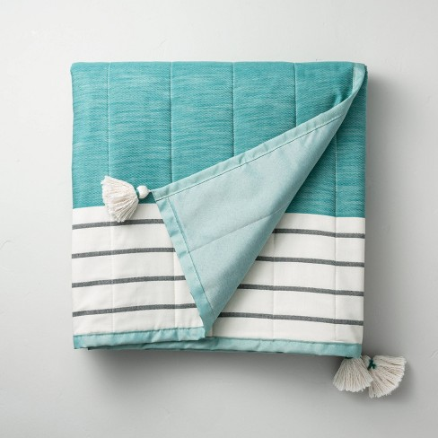 Bold Stripe Outdoor/Picnic Throw Blanket Teal - Hearth & Hand™ with Magnolia - image 1 of 3