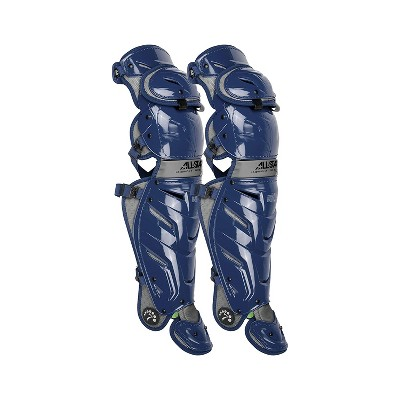 All-Star Sports LG40WPRO-NA S7 Axis Pro Adult Baseball Catcher Leg Guards Protective Gear with LINQ Hinge System and D3O Padding, Navy/Grey